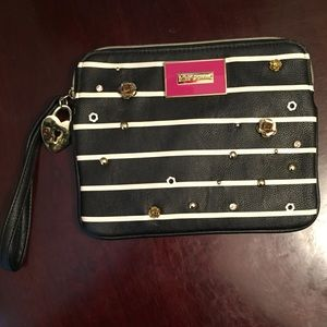 Black and White Stripped Betsey Johnson Handbag